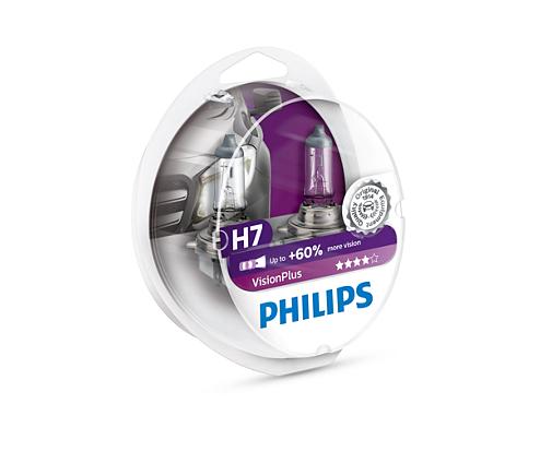 Philips VisionPlus H7 + 60% lys (2 stk)